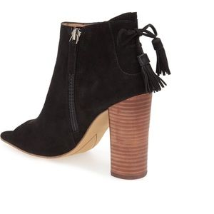 Halogen Tassel peep toe lace up bootie